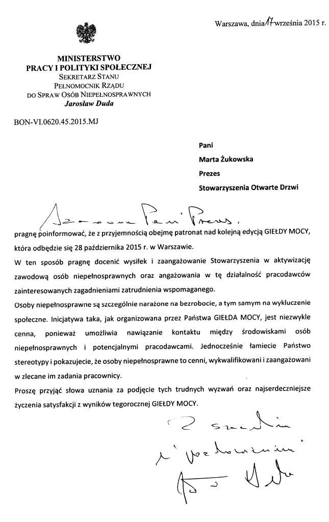 Patronat Jarosława Dudy na projketem Giełda Mocy